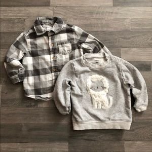 Carter's Gray Flannel & Lion Sweatshirt 18M